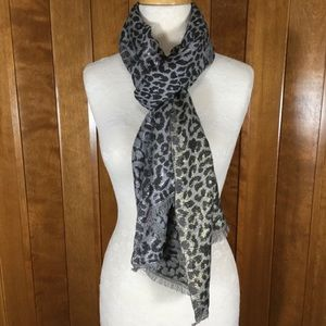 Accessories - Brown, Gold & Silver Sparkle Leopard Wrap Scarf